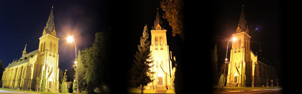 Noční pohled na kostel Nanebevzetí Panny Marie