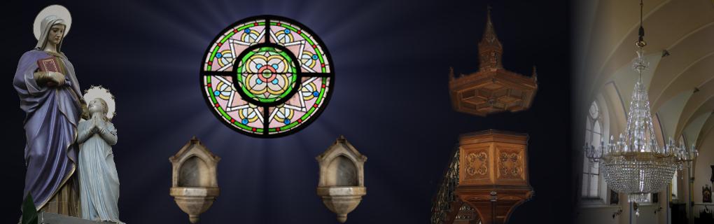 Zleva: socha svaté Anny, kropenka, vitráž, kropenka, kazatelna, lustr v hlavní lodi